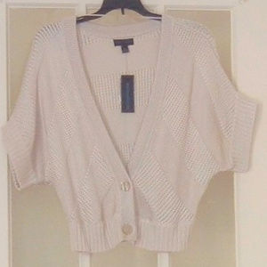 Worthington Beige Short Knit Cardigan Top Sz L NWT
